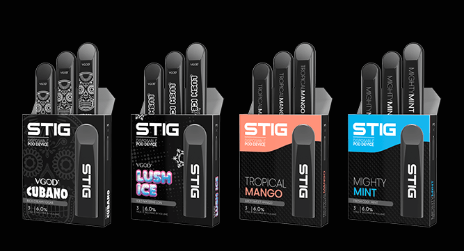 VGOD stig pod device and flavors